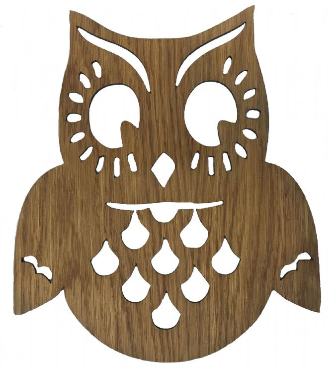 Wooden Laser Cut Oak Wise Old Owl Wall Art